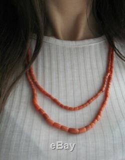 Antique Natural CORAL UNDYED Salmon NECKLACE 42,75 g Vintage Old Beads Ukrainian