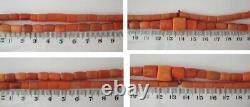 Antique Natural CORAL UNDYED Salmon NECKLACE 43,7 g Vintage Old Beads Ukrainian