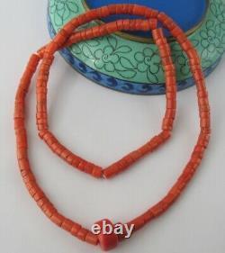 Antique Natural CORAL UNDYED Salmon NECKLACE 45.11 g Vintage Old Beads Ukrainian