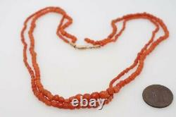 Antique Natural Dark Orange Coral Bead Necklace & Gold Clasp Project