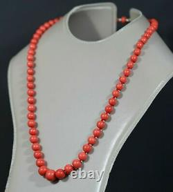 Antique Natural Mediterranean Red Coral Beads 13mm Necklace 14k Gold Clasp 60gr