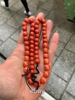 Antique Natural Momo Coral Bead Necklace 57 GRAMS Italienne coral