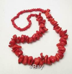Antique Natural Red Coral Bead Necklace Tested Undyed 125gms