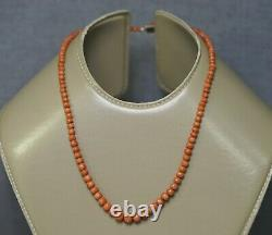 Antique Natural Sciacca Salmon Red Coral Beads 13mm Necklace 14k Gold Clasp 16gr