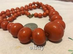 Antique Natural Untreated Oxblood Red Coral Barrel Bead Necklace 74 Grams