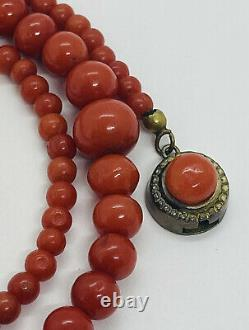 Antique Oxblood Deep Red Coral Graduated Beaded Necklace