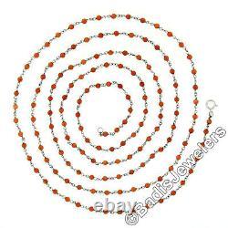 Antique Platinum Round 2.5mm Orange Coral Bead Long 41.5 Wrap Chain Necklace
