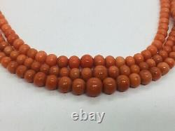 Antique Red Coral Graduated Beaded Triple Strand Silver Clasp Necklace