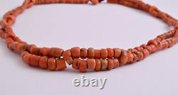 Antique Red Coral genuine natural undyed untreated beads Necklace-82 gram
