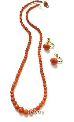 Antique Red Salmon Coral Graduated Beaded Necklace and Button Earrings
