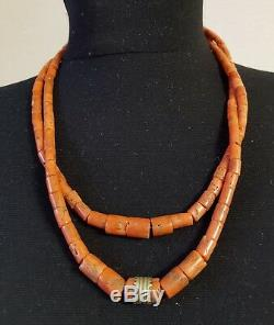 Antique UNDYED russet 100 % Natural sea depth Red CORAL beads necklace 58gr