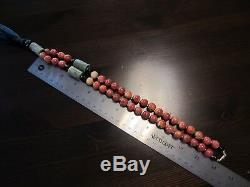 Antique VTG Chinese Carved SHOU Turquoise Sponge Coral Bead Necklace 14K Clasp