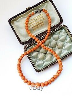 Antique Victorian 13.5 Salmon Coral Child's Graduated Beads Necklace 15gr