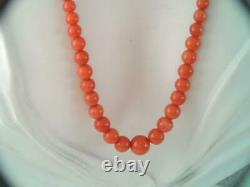 Antique Victorian 14k Gold Long Coral Bead Necklace 31 Inch