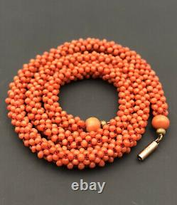 Antique Victorian 9k Gold & Natural Red Salmon Coral Bead Ball Twist Necklace