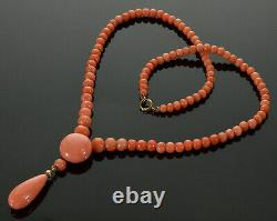 Antique Victorian 9k Peach Pink Coral Bead Necklace C. 1890