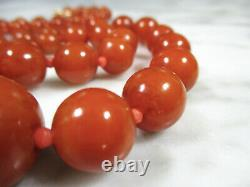 Antique Victorian Butterscotch Baltic Amber Round Bead Coral Necklace 36.3 Grams