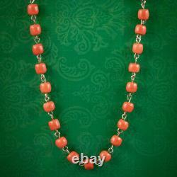Antique Victorian Coral Bead Necklace 9ct Gold Circa 1900