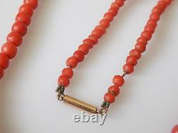 Antique Victorian Gold and Red Salmon coral beads necklace