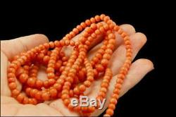 Antique Victorian Graduated Salmon Coral Beads Long 44 Long Necklace Mr