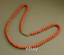 Antique Victorian Natural Mediterranean Coral Beads Necklace 14ct Gold Clasp 15g