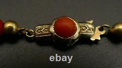 Antique Victorian Natural Mediterranean Red CORAL grad. Bead necklace 14 K gold