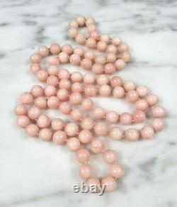 Antique Victorian Natural Pink Angel Skin Coral 8mm Beaded Necklace 32 67.7 Gr