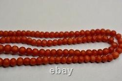 Antique Victorian Natural Red Coral Beads Necklace with Gold Clasp 14K (585)