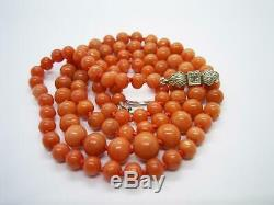 Antique Victorian Natural Salmon Coral Bead Necklace With Later Diamond Clasp