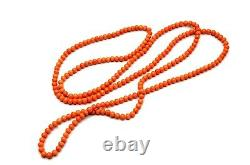 Antique Victorian Opera Length Coral Beads Necklace 61g 48 ins