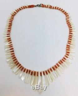 Antique Victorian Red Coral & Mother Of Pearl Beaded Necklace