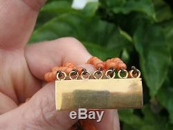 Antique Victorian Salmon Coral Beads 7 strands granduate carved beads 9ct clasp