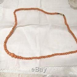 Antique Victorian Salmon Coral Graduated Strand Bead Necklace 10k Gold Clasp
