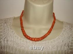 Antique Victorian Untreated Bead Salmon Natural Coral Necklace Clasp 16 Length
