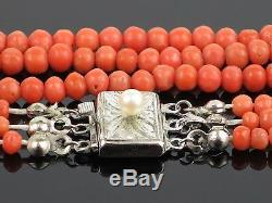Antique Victorian c1900 Natural Coral Bead Necklace with Silver Clasp, 26.4g