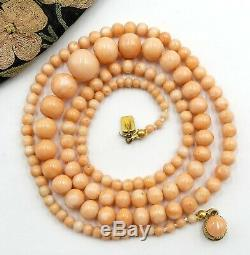 Antique Victorian salmon coral graduated strand bead necklace 10k gold clasp 27