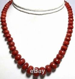 Antique Vintage 14k Gold Blood Red Coral Bead Necklace