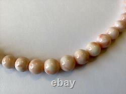 Antique Vintage Angel Skin Coral Graduated Bead Necklace