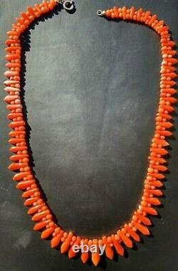 Antique Vintage Art Deco Carved Undyed Red Coral Bead Necklace