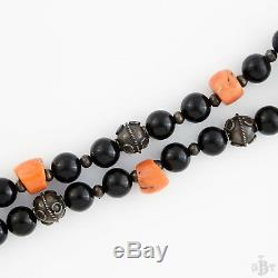 Antique Vintage Deco Sterling Silver Chinese Salmon Coral Bead Estate Necklace