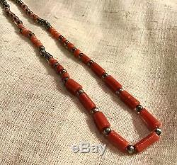 Antique Vintage Natural Coral Beads & Silver Coral American Indian Necklace