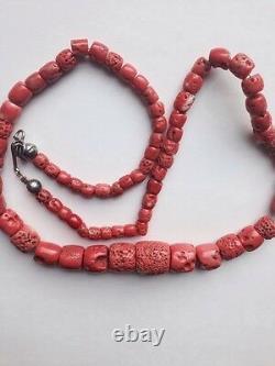 Antique Vintage Old Pink Natural Ocean Coral Beads Necklace
