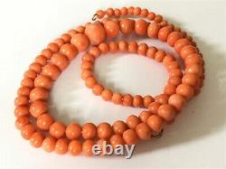 Antique Vintage Victorian Edwardian real coral beads necklace gold clasp 20 gram