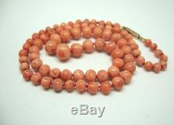 Antique c1860 Victorian Natural Pale Salmon Coral Bead Necklace GF Clasp 16g