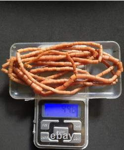 Antique natural Coral bead necklace 44 gr. Length 160 cm