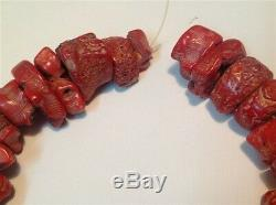 Antique natural Coral beads Chinese red color old necklace 489 gram (m924)