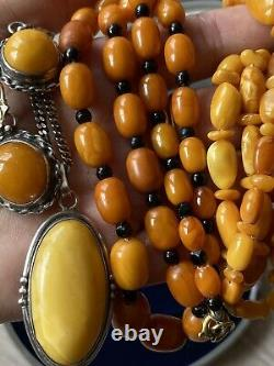 Antique natural butterscotch amber bead amber necklace
