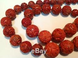Antique natural carved Coral round beads Chinese salmon necklace 204 gram m1124