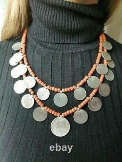 Antique necklace austria hungary beads corals coins national ukrainian zgardy