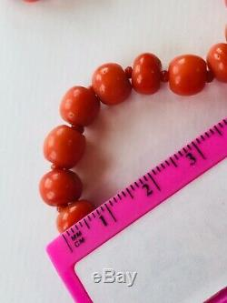 Antique necklace genuine CORAL beads necklace crystal spacers 34g silver clasp